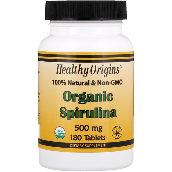 Healthy Origins, Органическая спирулина, 500 мг, 180 таблеток (Discontinued Item)