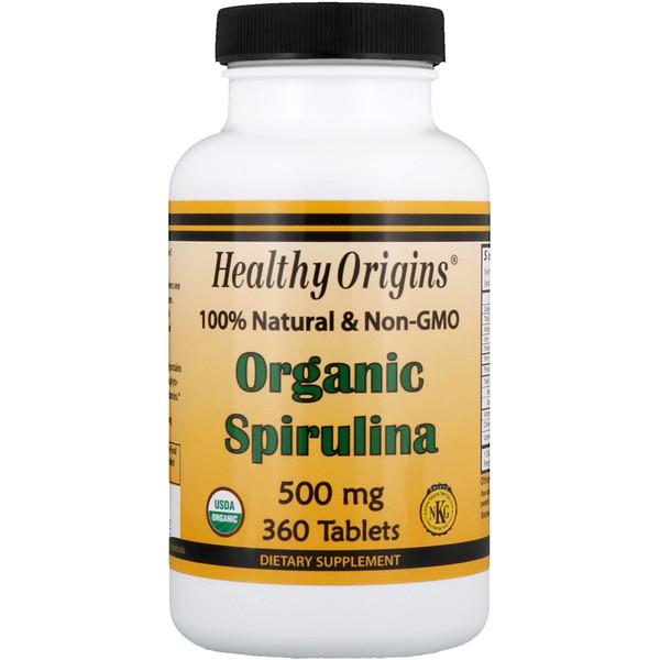 Healthy Origins, Органическая спирулина, 500 мг, 360 таблеток (Discontinued Item)