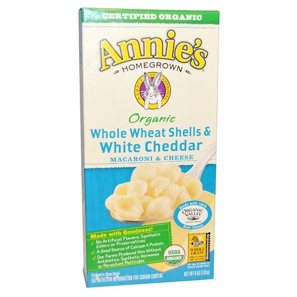 Annie's Homegrown, Органические макароны с сыром, из цельной пшеницы, ракушки с белым чеддером, 6 унций (170 г) (Discontinued Item)