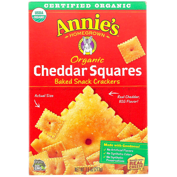 Organic Cheddar Squares, Baked Snack Crackers, 7.5 oz (213 g)