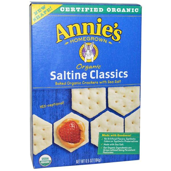 Annie's Homegrown, Органический классический запеченный крекер с морской солью, 6,5 унции (184 г)