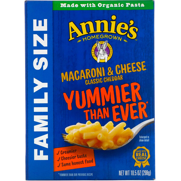 Annie's Homegrown, Macaroni & Cheese, Family Size, Classic Cheddar, 10.5 oz (298 g)