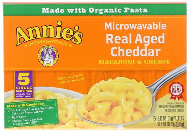 Annie's Homegrown, Макароны с сыром для микроволновой печи, настоящий чеддер, 5 пакетиков, 2,15 унции (61 г) каждый