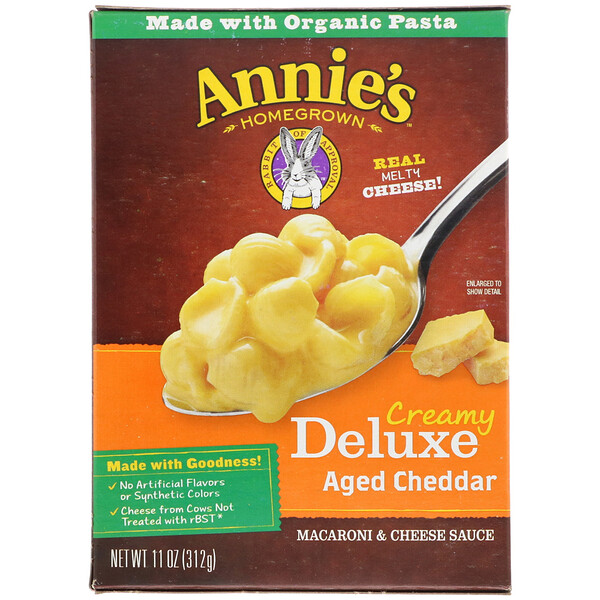 Annie's Homegrown, Creamy Deluxe Aged Cheddar, Macaroni & Cheese Sauce, 11 oz (312 g)