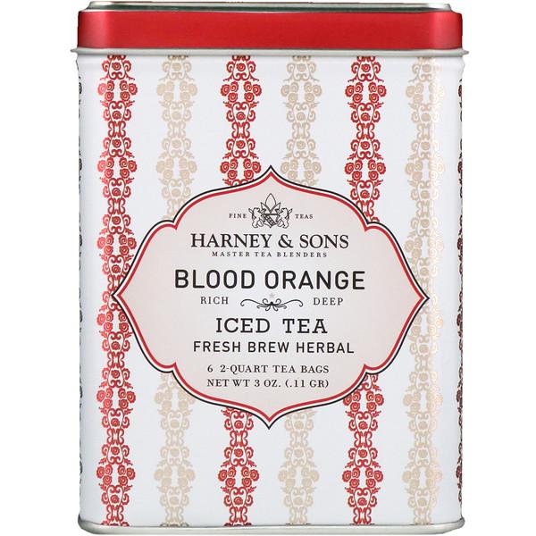 Harney & Sons, Кроваво-красный Апельсин, Ледяной Чай, 6 Пакетиков по 3 унции (0,11 г) (Discontinued Item)