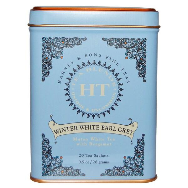 Harney & Sons, Зимний белый чай Эрл Грей, 20 чайных саше, 26 г (0,9 унции)