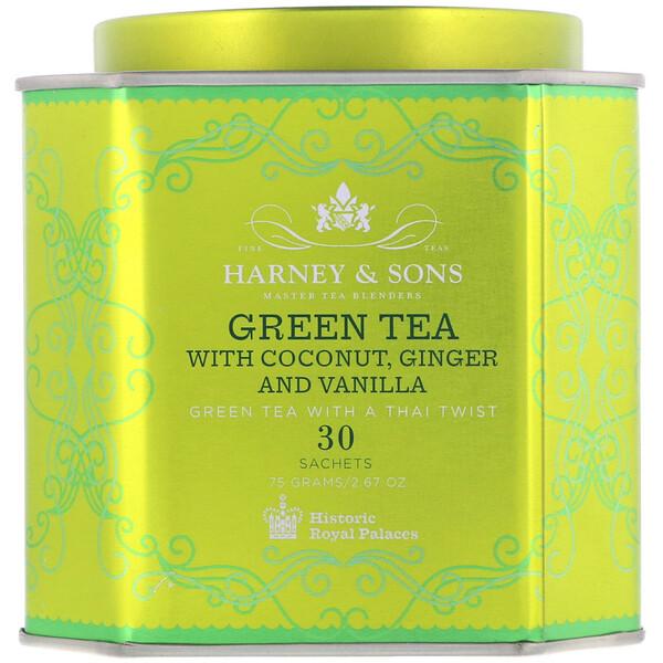 Зеленый чай с кокосом, имбирем и ванилью, 30 пакетиков, 2,67 унции (75 г)