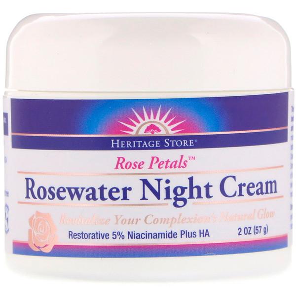 Rosewater Night Cream, Rose Petals, 2 oz (57 g)