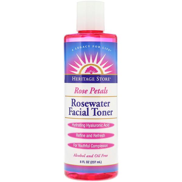 Тоник для лица с розовой водой, розовые лепестки, 237мл (8жидк.унций)