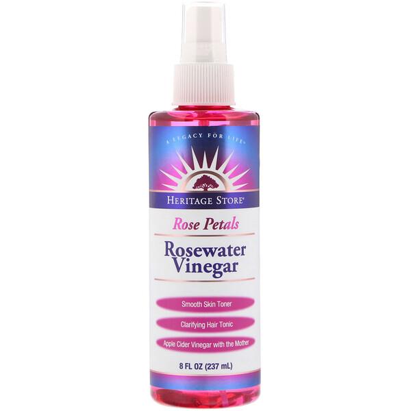 Rosewater Vinegar, Rose Petals, 8 fl oz (237 ml)