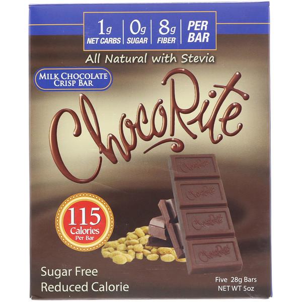 HealthSmart Foods, ChocoRite, хрустящие батончики с молочным шоколадом, 5 батончиков, (28 г) каждый (Discontinued Item)
