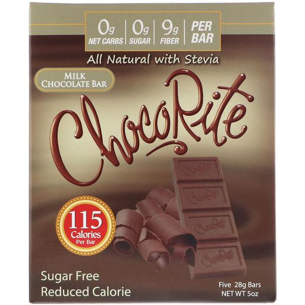 HealthSmart Foods, ChocoRite, батончик из молочного шоколада, без сахара, 5 батончиков, каждый весом 28 г (Discontinued Item)