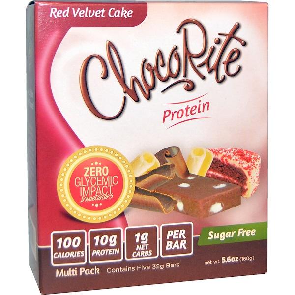 HealthSmart Foods, Батончики ЧокоРайт,  красный бархатный торт, 5 батончиков, по 5,6 унции (32 г) каждый (Discontinued Item)