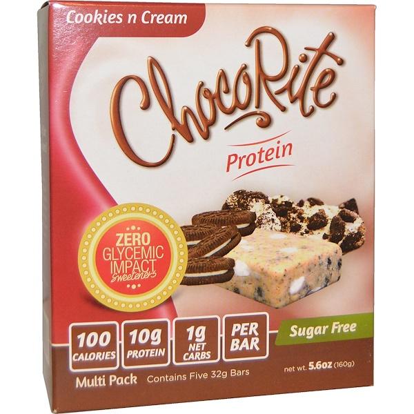 HealthSmart Foods, Батончики печенье и сливки ЧокоРайт,  5 белковых батончиков, по 5,6 унции (32 г) каждый (Discontinued Item)