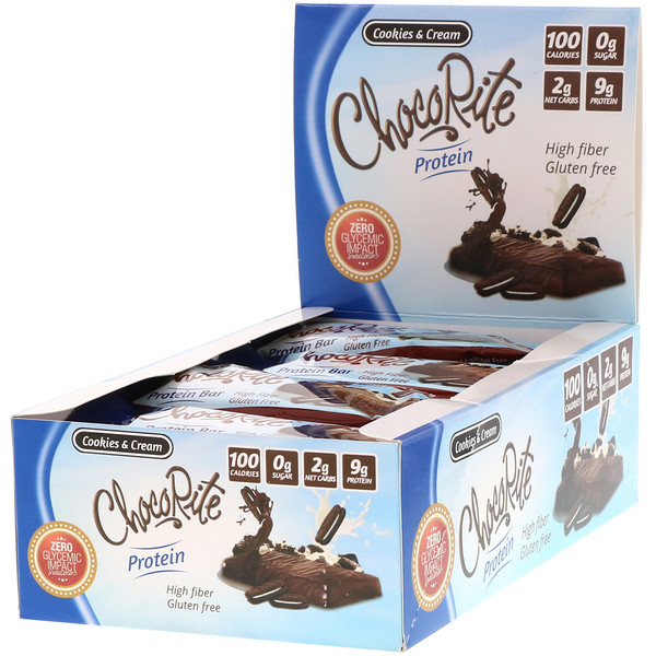 HealthSmart Foods, ChocoRite Protein Bar, Cookies & Cream, 16 Bars, 1.2 oz (34 g) Each (Discontinued Item)