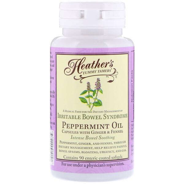 Heather's Tummy Care, Масло перечной мяты, синдром раздраженного кишечника, 90мягких таблеток, покрытых кишечнорастворимой оболочкой