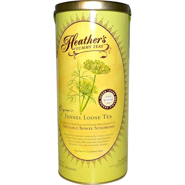 Heather's Tummy Care, Tummy Teas, рассыпной органический фенхелевый чай без кофеина, 453 г