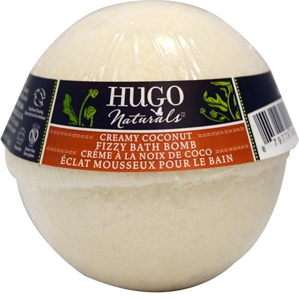 Hugo Naturals, Шипучая бомбочка для ванны, крем и кокос, 6 унций, (170 г) (Discontinued Item)