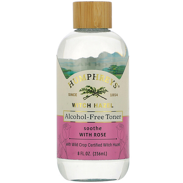 Humphrey's, Witch Hazel, Alcohol Free Toner with Rose, Soothe, 8 fl oz (236 ml)