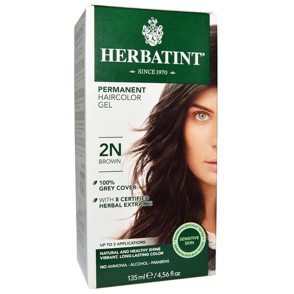 Перманентная гель-краска для волос, 2N, коричневый, 135 мл