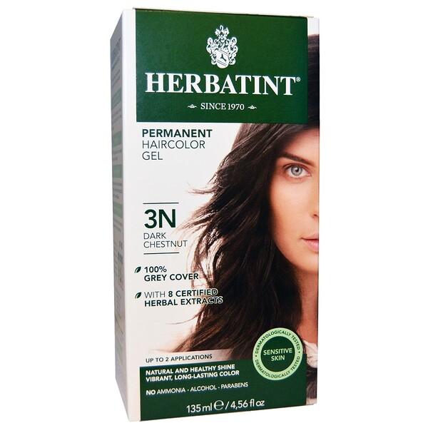 Перманентная краска для волос, 3N, темный каштан, 4,56 жидкой унции (135 мл)