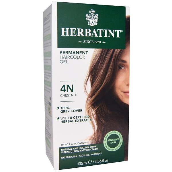 Перманентная гель-краска для волос, 4N, каштан, 135 мл