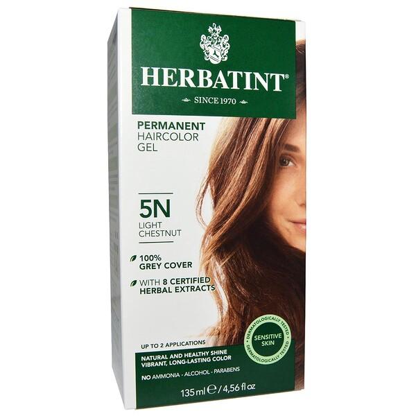 Перманентная краска-гель для волос, 5N, светлый каштан, 4,56 жидкой унции (135 мл)