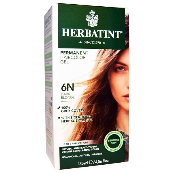 Стойкая гель-краска для волос, 6N, темный блондин, 135 мл (4,56 жидкой унции)
