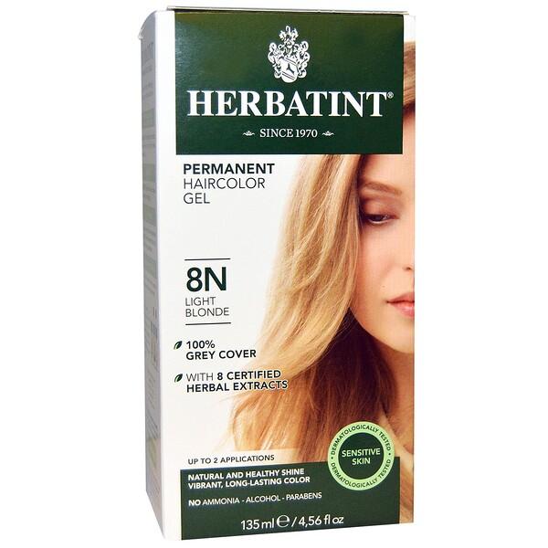 Перманентная травяная краска-гель для волос, 8N, светлый блондин, 4,56 жидкой унции (135 мл)