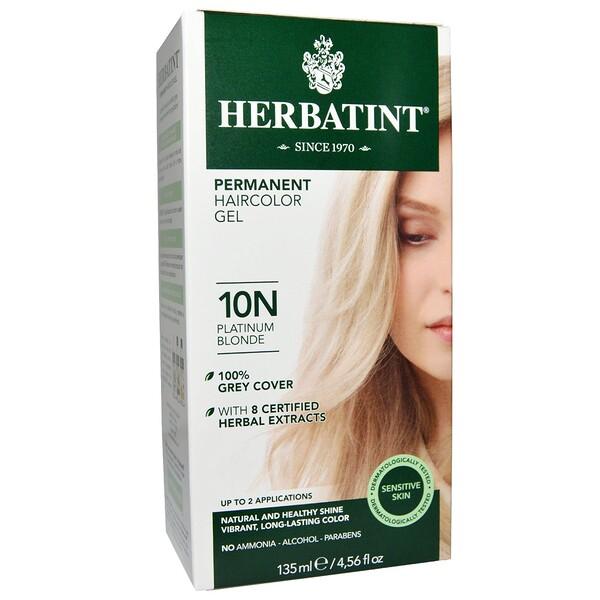 Перманентная краска-гель для волос, 10N, платиновый блондин, 4,56 жидкой унции (135 мл)