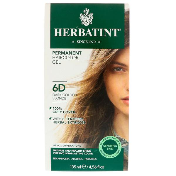 Перманентная гель-краска для волос, 6D, темный золотой блондин, 135 мл