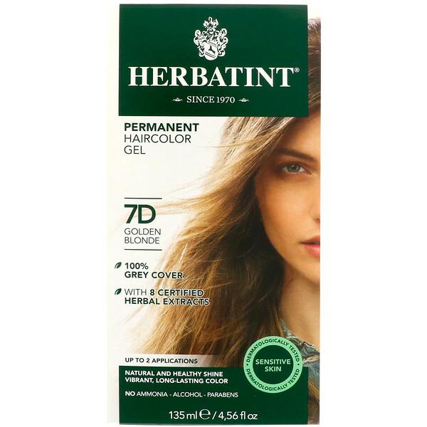 Permanent Haircolor Gel, 7D, Golden Blonde, 4.56 fl oz (135 ml)