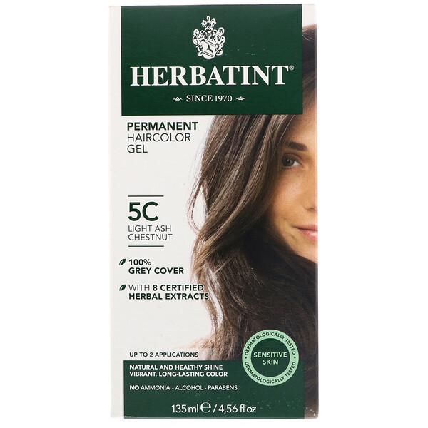 Перманентная гель-краска для волос, 5C, светлый пепельный каштан, 135мл (4,56жидк.унции)