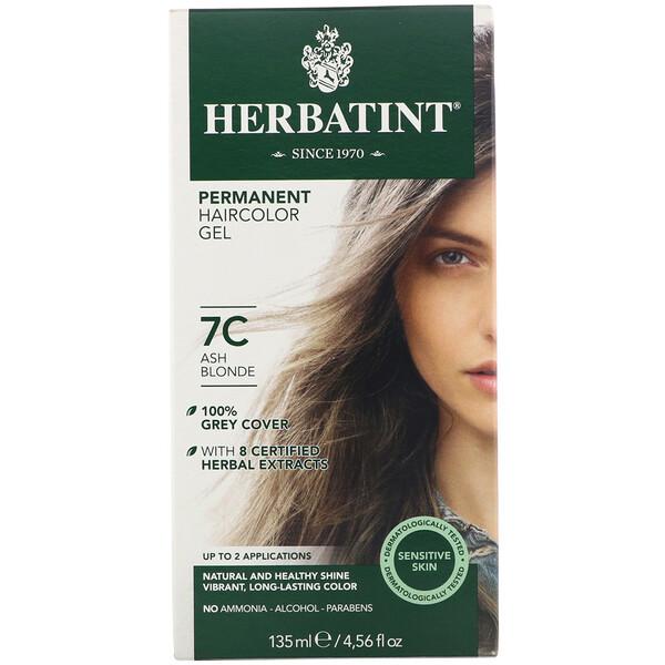Permanent Haircolor Gel, 7C, Ash Blonde, 4.56 fl oz (135 ml)