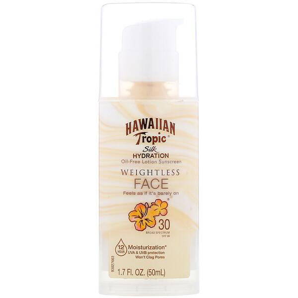 Hawaiian Tropic, Silk Hydration, Weightless Face, невесомый солнцезащитный лосьон для лица без масел, SPF 30, 50мл