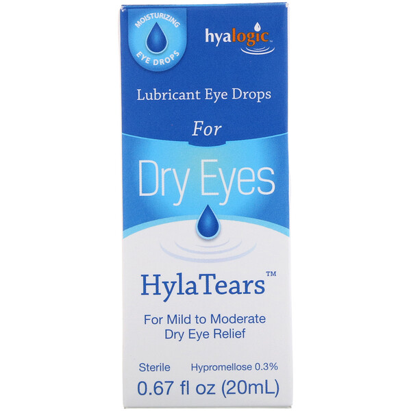 HylaTears, Увлажняющие глазные капли от сухости глаз, 0,67 ж. унц.(20 мл)