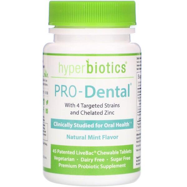 PRO-Dental, натуральный мятный вкус, 45 запатентованных жевательных таблеток LiveBac