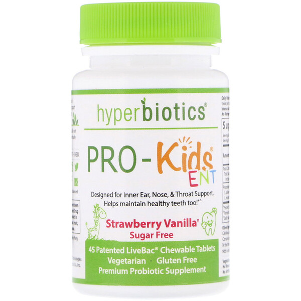 PRO-Kids ENT, Sugar Free, Strawberry Vanilla, 45 Patented LiveBac Chewable Tablets