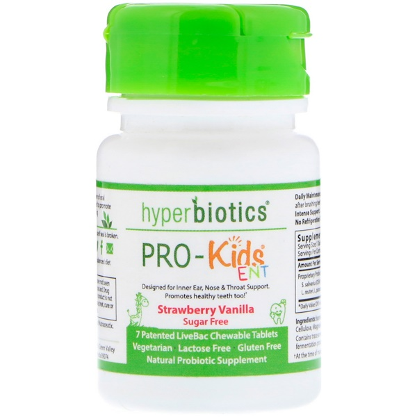 PRO-Kids ENT, Sugar Free, Strawberry Vanilla, 7 Patented LiveBac Chewable Tablets