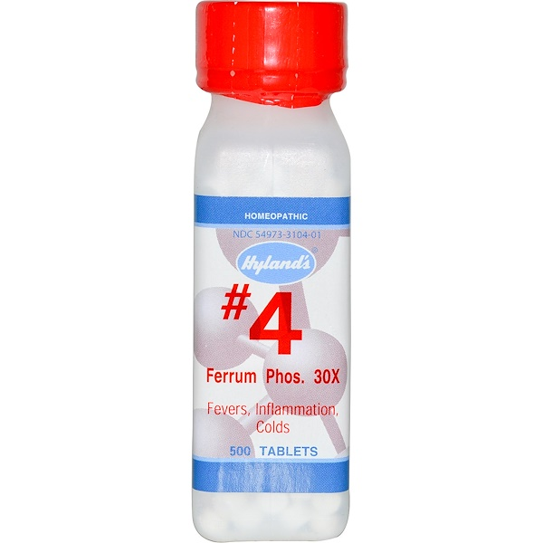Hyland's, #4 Ferrum Phos. 30X, 500 таблеток (Discontinued Item)