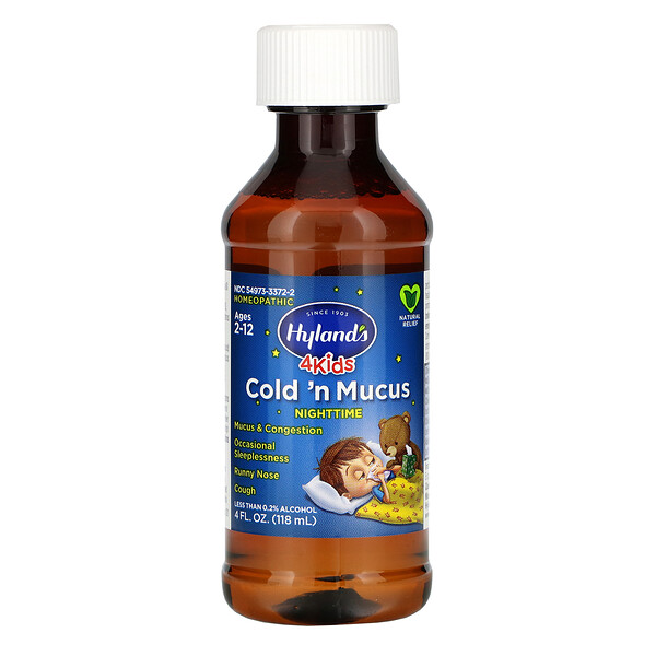 4 Kids, Cold 'n Mucus Nighttime, Ages 2-12, 4 fl oz (118 ml)