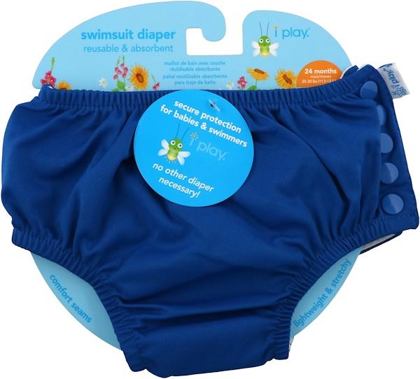 i play Inc., Многоразовый и впитывающий подгузник для плавания, для 2-летних малышей, ярко-синий, 1 шт (Discontinued Item)