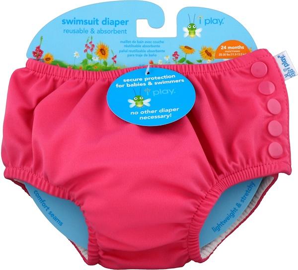 Многоразовый и впитывающий подгузник для плавания, для 2-летних малышей, ярко-розовый, 1 шт