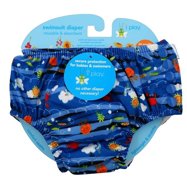i play Inc., Многоразовый и впитывающий подгузник для плавания, для 2-летних малышей, морские обитатели, 1 шт (Discontinued Item)