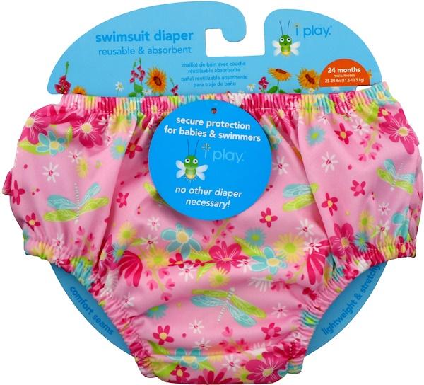 i play Inc., Многоразовый и абсорбирующий подгузник для плавания, 24 месяца, светло-розовая стрекоза, 1 подгузник (Discontinued Item)