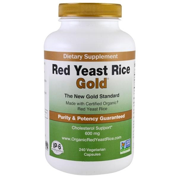 Red Yeast Rice, Gold, 600 mg, 240 Vegetarian Capsules