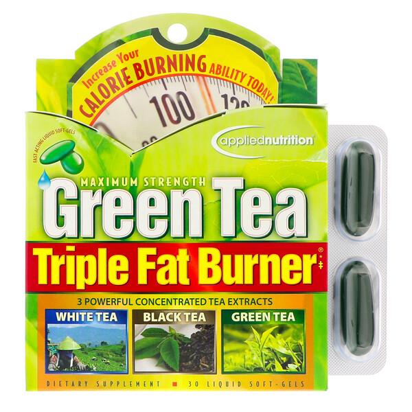 Сжигатель жира с зеленым чаем, тройного действия, 30 жидких мягких таблеток