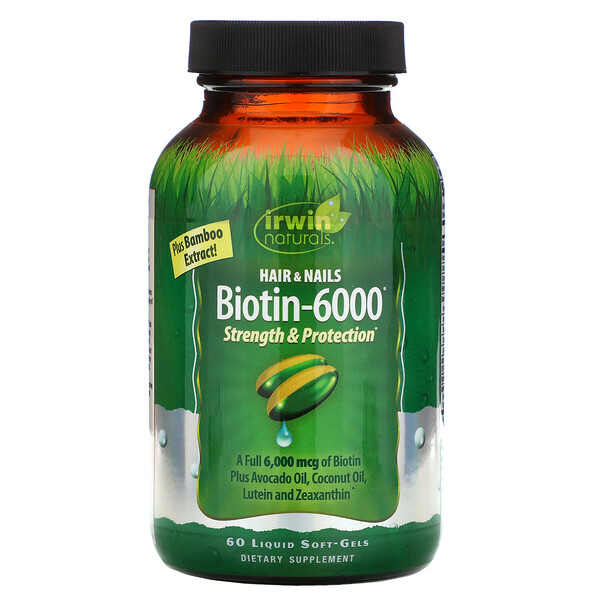 Irwin Naturals, Biotin-6000 with Bamboo Extract, 60 Liquid Soft-Gels (Discontinued Item)