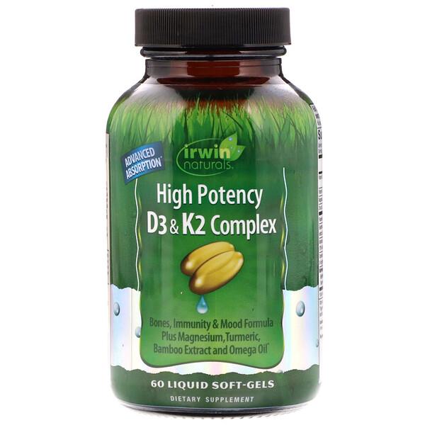 Irwin Naturals, Высокоэффективный комплекс D3 и K2, 60мягких таблеток с жидкостью