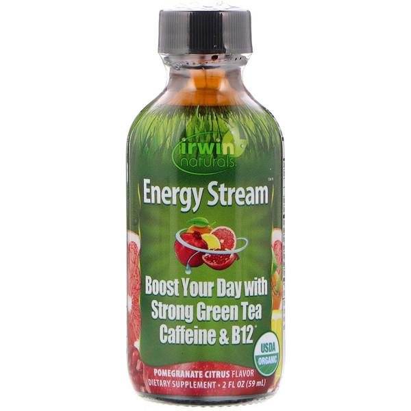 Irwin Naturals, Органический продукт, Поток энергии, Со вкусом граната и цитруса, 2 ж. унц.(59 мл) (Discontinued Item)